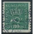 SWEDEN - 1920 80öre blue-green Crown & Posthorn, inverted lines + KPV watermark, used – Facit # 162cz