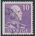 SWEDEN - 1939 10öre violet King Gustav V, small numerals, perf. 3-sides (imperf. at left), used – Facit # 269B