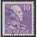 SWEDEN - 1939 10öre violet King Gustav V, small numerals, perf. 3-sides (imperf. at left), used – Facit # 269B