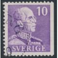 SWEDEN - 1939 10öre violet King Gustav V, small numerals, perf. 3-sides (imperf. at right), used – Facit # 269B