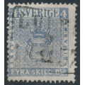 SWEDEN - 1855 4Skilling ultramarine-grey Coat of Arms, used – Facit # 2j²