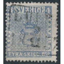 SWEDEN - 1855 4Skilling ultramarine-grey Coat of Arms, used – Facit # 2j²