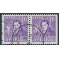 SWEDEN - 1939 10öre violet Berzelius, perf. 4-sides + 3-sides pair, used – Facit # 320BC