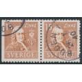 SWEDEN - 1939 15öre brown Linné, perf. 3-sides + 4-sides pair, used – Facit # 321BC
