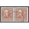 SWEDEN - 1939 15öre brown Linné, perf. 4-sides + 3-sides pair, used – Facit # 321CB