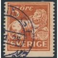 SWEDEN - 1921 5öre brownish orange-red Lion, perf. 13 on 2-sides, no watermark, used – Facit # 142Ea