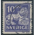 SWEDEN - 1926 10öre ultramarinish violet Lion, type I, perf. 13 two sides, no watermark, used – Facit # 145Ea