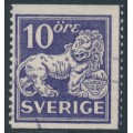 SWEDEN - 1934 10öre ultramarine-violet Lion, perf. 13 two sides, no watermark, used – Facit # 146E
