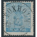 SWEDEN - 1858 12öre pale blue Coat of Arms, used – BOXHOLM 10 I 1872 stämpel (E-län)