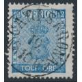 SWEDEN - 1858 12öre blue Coat of Arms, used – CARLSKRONA 19 X 1864 stämpel (K-län)