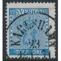 SWEDEN - 1858 12öre blue Coat of Arms, used – KARLSHAMN 23 X 1871 stämpel (K-län)