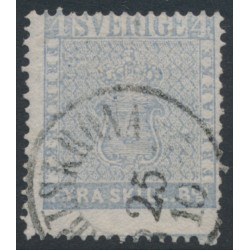 SWEDEN - 1855 4Skilling grey-ultramarine Coat of Arms, used – Facit # 2i²