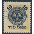 SWEDEN - 1889 10öre dark blue on 24öre yellow-orange Ring Type, perf. 13, used – Facit # 51b