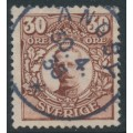 SWEDEN - 1911 30öre brown Gustav V in Medallion, used – ÄNGBY 20 IV 1935 stämpel (A-län)
