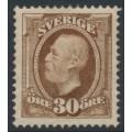 SWEDEN - 1891 30öre yellowish brown Oscar II, crown watermark, mint hinged – Facit # 58a