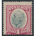 SWEDEN - 1900 1Kr carmine-rose/grey Oscar II, crown watermark, mint hinged – Facit # 60a