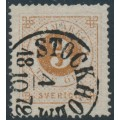 SWEDEN - 1872 3öre dark orange-brown Ring Type, perf. 14, used – Facit # 17c