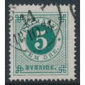 SWEDEN - 1872 5öre dark bluish green Ring Type, perf. 14, used – Facit # 19e