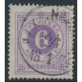 SWEDEN - 1872 6öre bluish lilac Ring Type, perf. 14, used – Facit # 20d