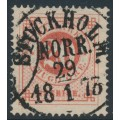 SWEDEN - 1872 20öre orangish red Ring Type, perf. 14, used – Facit # 22a
