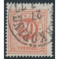 SWEDEN - 1876 20öre brick red on 20öre pale orange Ring Type, perf. 14, used – Facit # 23a