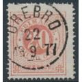 SWEDEN - 1876 20öre dull red on 20öre pale orange Ring Type, perf. 14, used – Facit # 23c