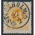 SWEDEN - 1872 24öre yellowish orange Ring Type, perf. 14, used – Facit # 24c