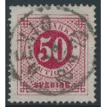 SWEDEN - 1872 50öre reddish carmine Ring Type, perf. 14, used – Facit # 26g