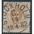 SWEDEN - 1877 3öre yellow-brown Ring Type, perf. 13, used – Facit # 28d
