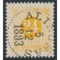 SWEDEN - 1878 24öre yellow-orange Ring Type, perf. 13, used – Facit # 34k