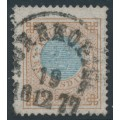 SWEDEN - 1877 1 Riksdaler blue/brown Ring Type, perf. 13, used – Facit # 37