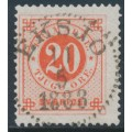 SWEDEN - 1886 20öre dark orange-red Ring Type, perf. 13 with posthorn, used – Facit # 46c
