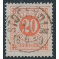 SWEDEN - 1886 20öre dull orange-red Ring Type, perf. 13 with posthorn, used – Facit # 46a