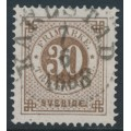 SWEDEN - 1886 30öre reddish brown Ring Type, perf. 13 with posthorn, used – Facit # 47b
