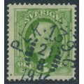 SWEDEN - 1891 5öre yellowish green Oscar II, inverted crown watermark, used – Facit # 52gvm¹