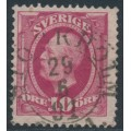 SWEDEN - 1891 10öre dull brownish carmine Oscar II, early cancel date, used – Facit # 54bv14