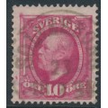 SWEDEN - 1891 10öre rose-carmine Oscar II, portions of two crown watermarks, used – Facit # 54dvm²