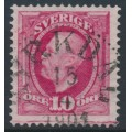 SWEDEN - 1891 10öre bright carmine Oscar II with joining line (lödskarvlinje), used – Facit # 54ev10