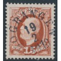 SWEDEN - 1896 15öre light red-brown Oscar II, used – BOGRANGEN 19 II 1910 stämpel (S-län)