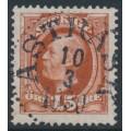 SWEDEN - 1896 15öre red-brown Oscar II, used – ÅSTRÄSK 10 III 1900 stämpel (AC-län)