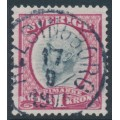SWEDEN - 1900 1Kr carmine/grey Oscar II, used – Facit # 60b