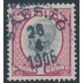 SWEDEN - 1900 1Kr violetish carmine/grey Oscar II, used – Facit # 60c