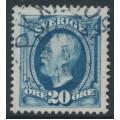 SWEDEN - 1911 20öre blue Oscar II, no watermark, used – PKXP 109 10 V 1912 stämpel (I-län)