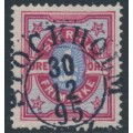 SWEDEN - 1892 4öre bright carmine/ultramarine-blue Bicoloured Numeral, used – Facit # 64c
