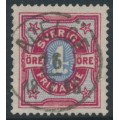 SWEDEN - 1892 4öre deep carmine/ultramarine-blue Bicoloured Numeral, used – Facit # 64a