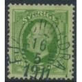 SWEDEN - 1891 5öre green Oscar II, used – FJÄRDHUNDRA 16 V 1911 cancel (C-län / U-län)