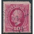 SWEDEN - 1891 10öre carmine Oscar II, used – ENEBOGA 22 VIII 1910 stämpel (D-län)