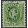 SWEDEN - 1891 5öre green Oscar II, used – ASKA 25 I 1908 stämpel (E-län)