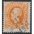 SWEDEN - 1896 25öre orange Oscar II, used – HYLTEBRUK 12 IV 1911 stämpel (N-län / F-län)