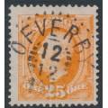 SWEDEN - 1896 25öre orange Oscar II, used – ÖFVERBY 12 XII 1905 stämpel (O-län)